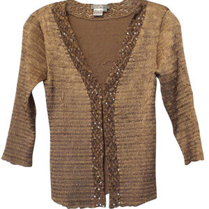 Champagne Silky Crinkled Sequin Trim Jacket Size S